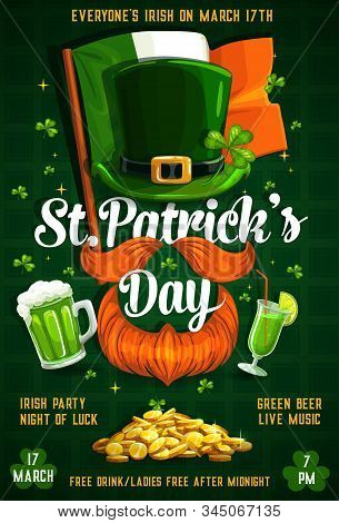 Irish Party On 17 March, Saint Patricks Day Celebration. Vector Flag Of Ireland, Leprechauns Hat, Be