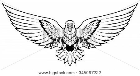 Line Art Mascot Illustration Of Eagle Attacking And Isolated On White Background.
