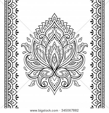 Set Of Lotus Mehndi Flower Pattern And Seamless Border For Henna Drawing And Tattoo. Decoration In O