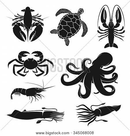 Seafood And Fishery Crustacean, Animals Silhouette Icons. Vector Octopus, Shrimp Or Prawn And Ocean