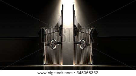 Pearly Gates Of Heaven Spotlit From Above By An Ethereal Light On A Dark Moody Background - 3d Rende