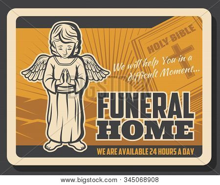 Funeral Service, Burial And Farewell Ceremony Organization Agency Retro Poster. Vector Holy Bible Wi