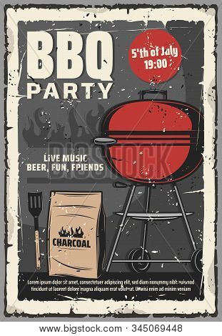 Barbecue Summer Party Vintage Retro Poster, 5 July American Holiday Cookout Party. Vector Bbq Charco