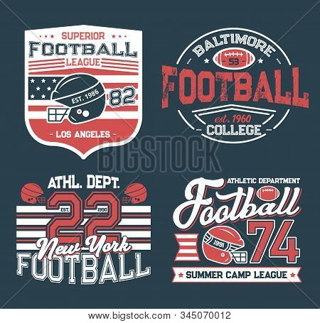 Football League Retro Grunge T-shirt Prints. Vector College Club, Summer Camp League. Soccer Club Fo