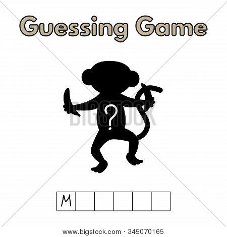 Cartoon Monkey Guessing Game. Vector Illustration For Children Education