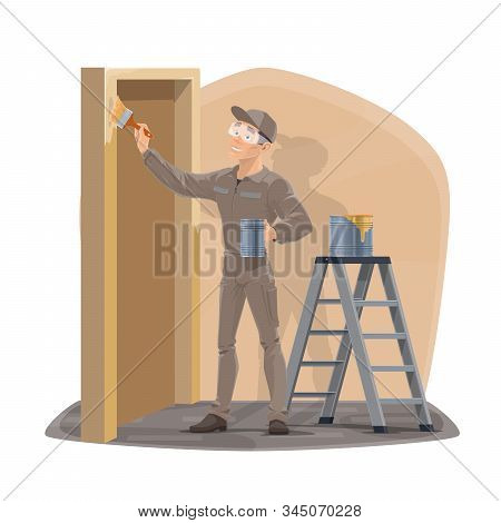 Painter Man With Paintbrush Painting Home Wall And Door. Vector House Interior Design And Renovation