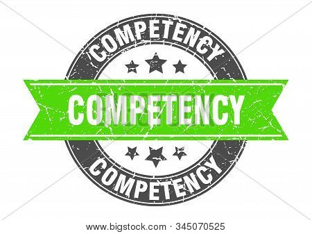 Competency Round Stamp With Green Ribbon. Competency