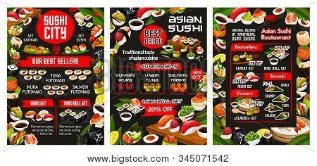 Japanese Sushi Bar Menu, Asian Cuisine Food And Sashimi Rolls Buffet. Vector California Roll And Phi