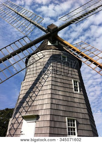 Low Angle Picture Of The Beautiful Hook Windmill (also As Old Hook Mill) Is A Historic Windmill Buil