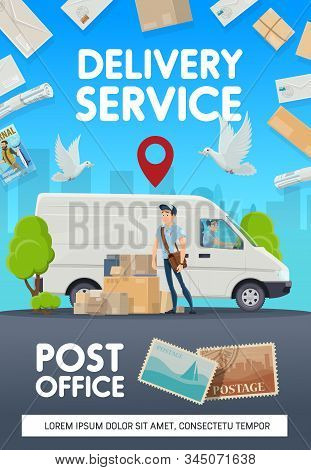 Mail Delivery, Post Office Logistics And Courier Service. Vector Post Office Mailman With Newspapers