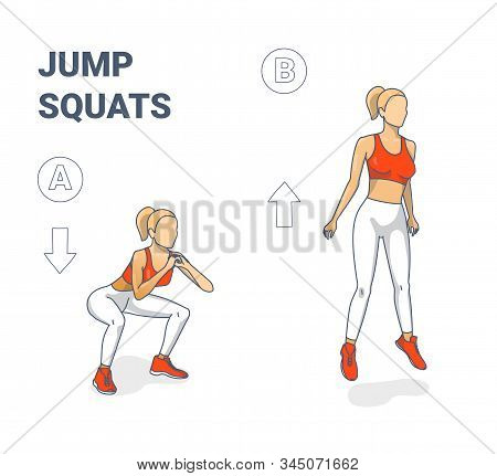 Girl Doing Jump Squats Silhouettes. Squatting Jumps Illustration Concept.