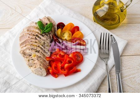 Juicy Chicken Fillet Cooked Under Vacuum At Low Temperature. Sliced Chicken Breast, Fresh Pepper, On