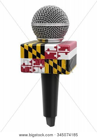 3d Illustration. Microphone And Maryland Flag. Image With Clipping Path