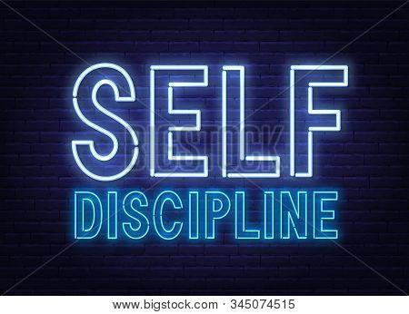 Self Discipline Neon Sign On Dark Background.