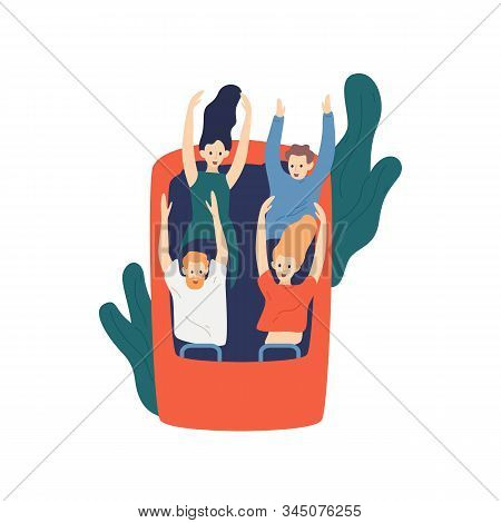 Group of cartoon friends ride roller coaster vector flat illustration. Visitors at thrilling amusement park isolated on white background. Emotional, customers experience, active recreation concept. poster