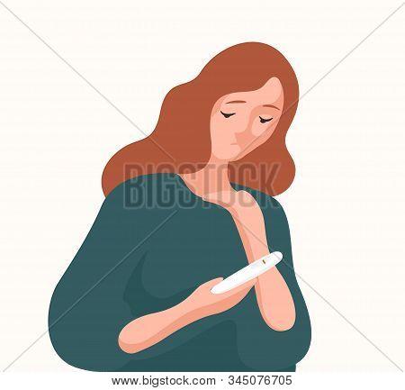 Unhappy Woman Holding Negative Result Pregnancy Test Vector Flat Illustration. Sad Female Upset Fert