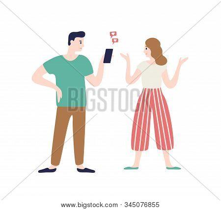 Cartoon Wife Incriminating At Treason Of Husband Vector Flat Illustration. Annoyed Woman Talking Man
