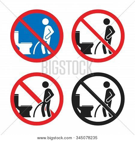 No Peeing On The Floor Sign, Do Not Pee Outside Of The Toilet Icon