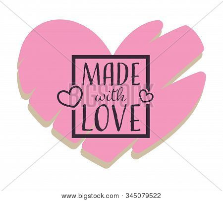 Made With Love, Handmade Gifts Shop Isolated Heart Icon