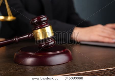 Lawyer Business Women Working And Notary Signs The Documents At Office. Consultant Lawyer, Justice A