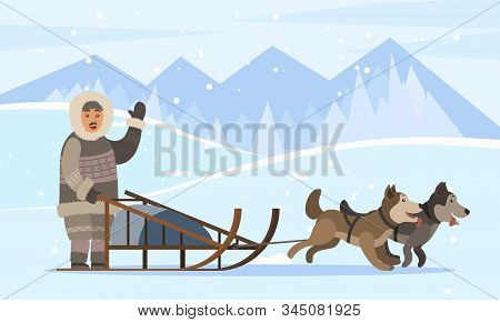 Eskimos On Sledges With Husky Dogs Traveling Through Empty Forests And Woods Covered With Snow. Arct