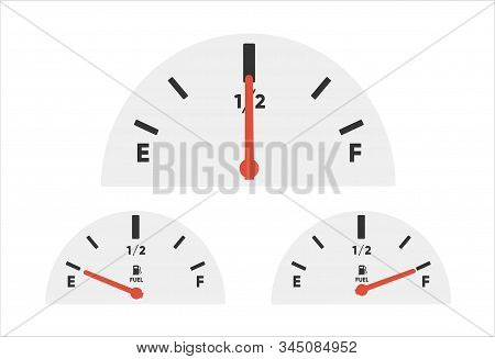 Gas Tank Gauge. Set Of Fuel Gauge Scales. Fuel Meter. Fuel Indicator. Oil Level Tank Bar Meter. Coll
