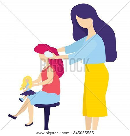 A Tender Mother Combs Her Young Daughters Hair With A Comb