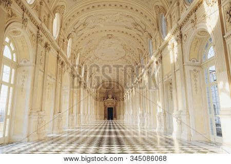 The Palace Of Venaria Reale Interior, Diana Gallery. Royal Residence Of Savoy Near Turin In Piedmont
