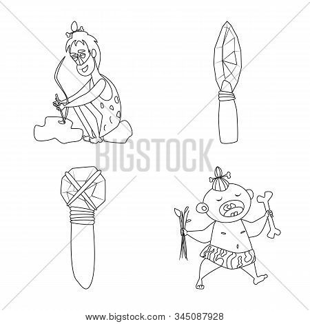 Isolated Object Of Primitive And Archeology Logo. Set Of Primitive And History Vector Icon For Stock