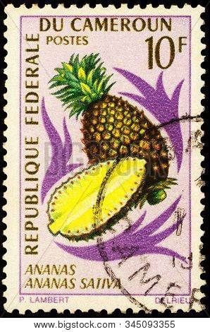 Moscow, Russia - January 14, 2020: Stamp Printed In Cameroon Shows Pineapple, Or Ananas (ananas Como