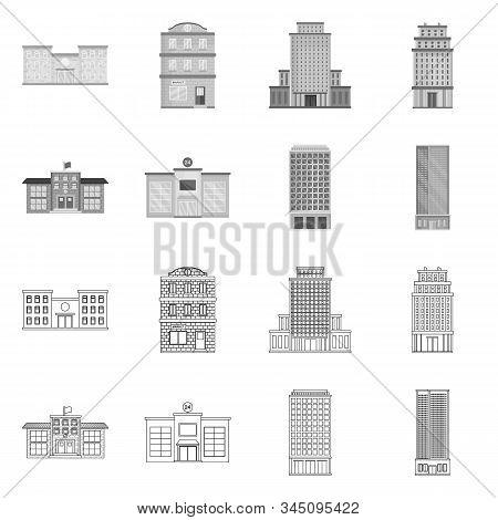 Isolated Object Of Municipal And Center Icon. Collection Of Municipal And Estate Stock Vector Illust