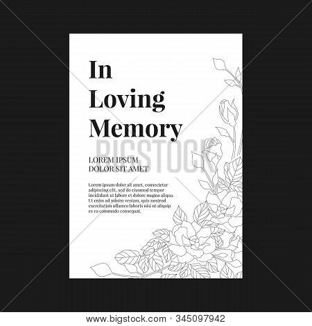 Funeral Banner - In Loving Memory Text And Simple Text On A4 White Paper With Abstract Line Rose Tex