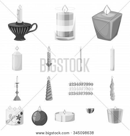Vector Illustration Of Paraffin And Fire Symbol. Set Of Paraffin And Decoration Stock Vector Illustr