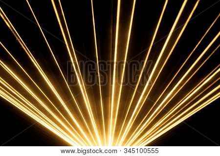 Yellow Laser Show Nightlife Club Stage Shining Sparkling Rays. Luxury Entertainment In Nightclub Eve