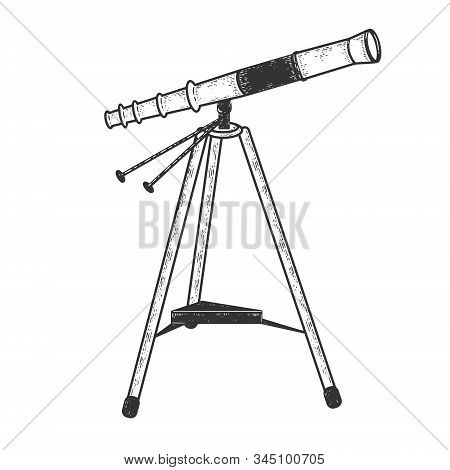 Telescope Spyglass Monocular Sketch Engraving Vector Illustration. T-shirt Apparel Print Design. Scr