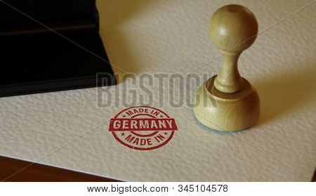 Made In Germany Stamp On Paper. Factory, Manufacturing And Production Country Concept.