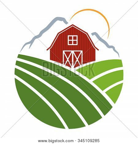 Red Farm Barn With Mountain Range In Behind, Vector Graphic Design Element