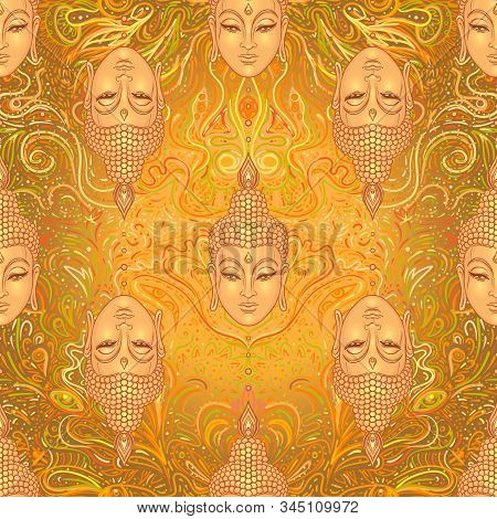 Sitting Buddha Over Colorful Neon Background. Seamless Pattern. Vector Illustration. Psychedelic Mus