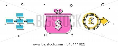 Set Business Hierarchy Organogram Chart Infographics, Wallet With Dollar Symbol And Coin Money With