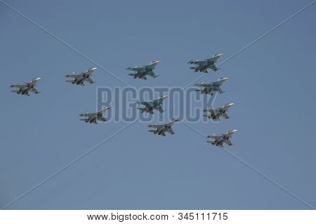 Moscow, Russia - May 7, 2019:rehearsal Of The Victory Day Celebration. The Airshow On The Red Square