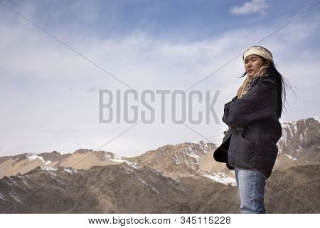 Travelers Thai Women People Travel Visit And Posing With View Landscape Of Leh Ladakh Village From V