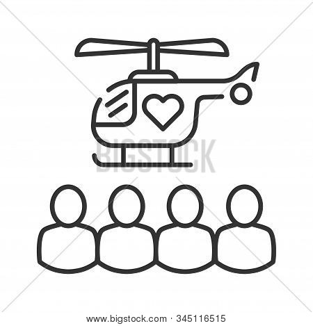 Humanitarian Help Black Line Icon. Distribution Of Basic Needs People In Need. Charity, Volunteering