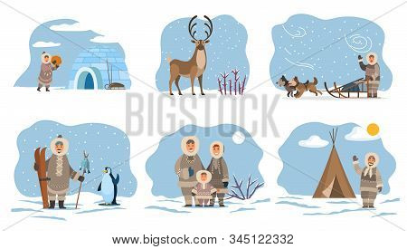 Collection Of Eskimos People By Home Made Of Ice. Igloo And Inuit, Male Character With Fish On Stick