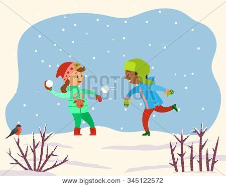 Children Playing With Snow Balls Together In Snowy Park Or Forest. Kids Play Snowballs, Spend Time A