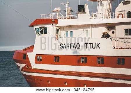 Ilulissat, Greenland, August 18 2019: The Ship Sarfaq Ittuk In The Harbour And Port Of Ilulissat In