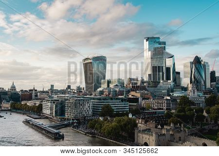Elevated View Of The City Of London District With Famous Buildings