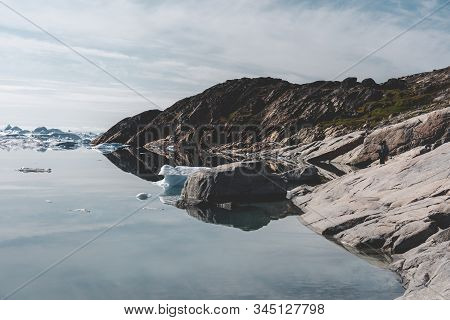 Beautifull Landscape With Floating Icebergs In Glacier Lagoon And Lake In Greenland. Ilulissat Icefj