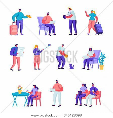 Set Of Flat Diverse Young People With Luggage And Maps Traveling Characters. Cartoon People Tourist