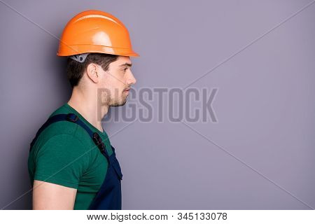Close-up Profile Side View Portrait Of His He Nice Attractive Serious Experienced Qualified Skilled
