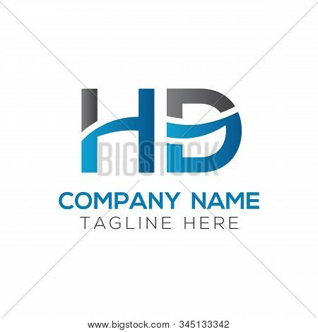 Letter Hd Logo Design Linked Vector Template With Blue And Black. Initial Hd Vector Illustration